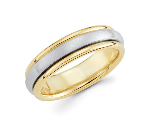 14K Two Tone Yellow Gold on the Edges & White in the Center 6mm Wedding Band for Men