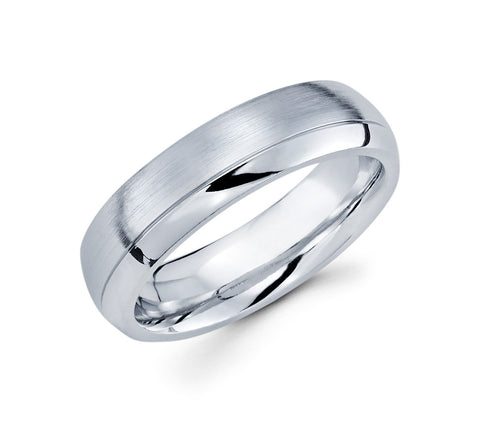 Classical 14K White Gold with Satin Finish in Center and High Polished Edges 6mm Wedding Band for Men