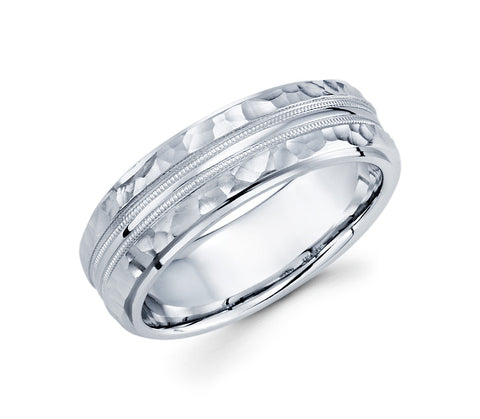 14K White Gold Hammered Finish on the Edges and Two Milgrain Design in the Center 7mm Modern Wedding Band for Men