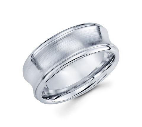 14K White Gold Concave Design in the Center with Satin Finish and High Polish in the Center Modern 9mm Wedding Band for Men