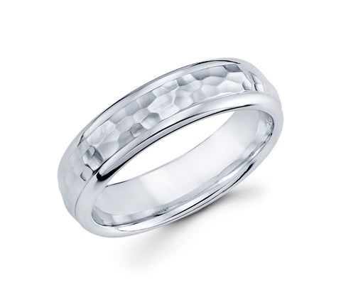 14K White Gold High Polished Edges and Hammered in the Center Unique 6mm Wedding Band for Men