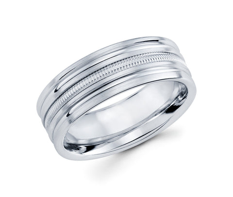 14K White Gold Satin Finish Milgrain in the Middle and High Polished Grooves on the sides 8mm Wedding Band for Men