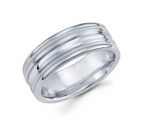 14K White Gold High Polish Finish Milgrain in the Middle and High Polished Grooves on the sides 8mm Wedding Band for Men