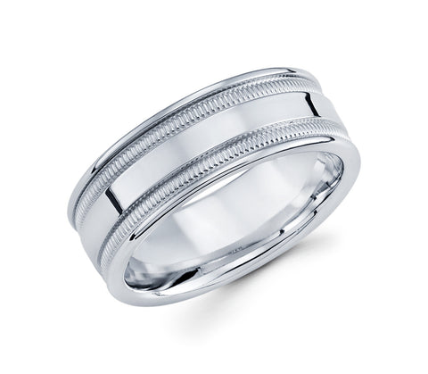 14K White Gold High Polish Center and Milgrain Design on the Edges 8mm Wedding Band for Men
