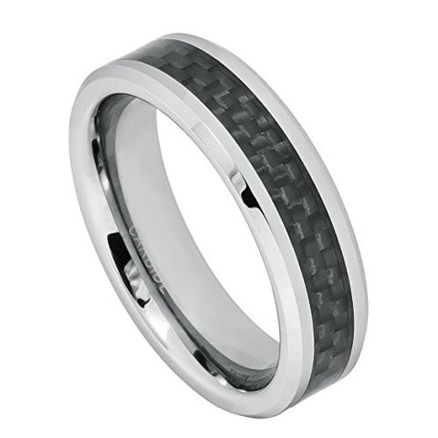 Tungsten Ring Black Carbon Inlay Center 6mm Wedding Band for Men / Women