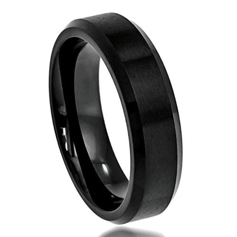 Tungsten Ring High Polished Beveled with Black Enamel Finish 6mm Wedding Band for Men / Women