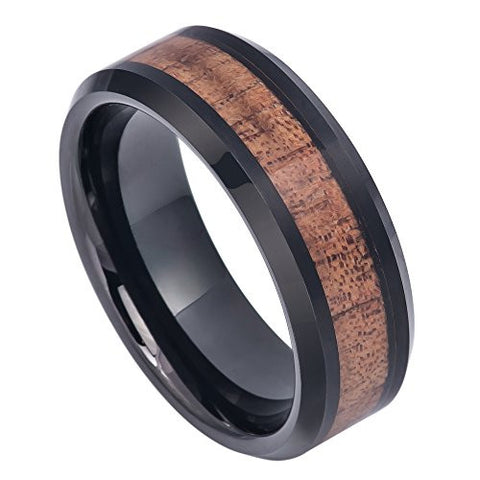 Tungsten Ring Hawaiian Koa Wood Inlay in Center and Black Enamel Plated Beveled Edges 8mm Wedding Band for Men / Women