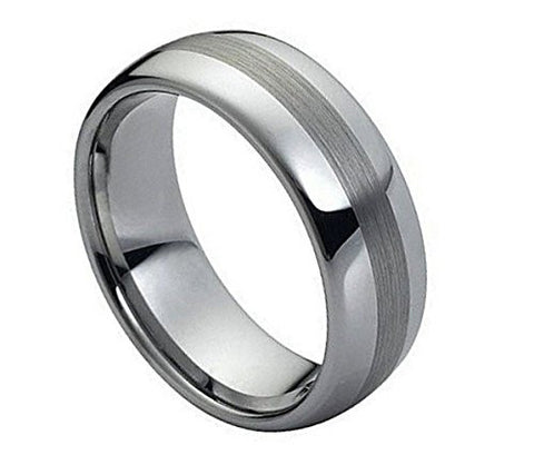 Tungsten Ring Brushed Center and Highly Polished Finish 8mm Unique Wedding Band for Men / Women