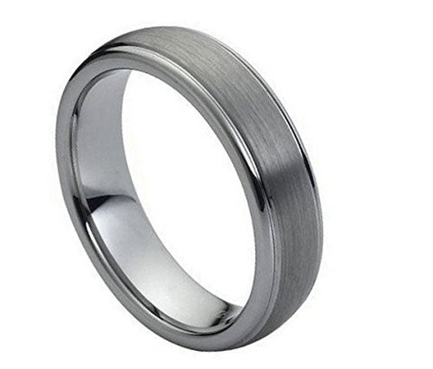 Tungsten Ring High Polished Ridge Edges and Domed Style 6mm Wedding Band for Men / Women