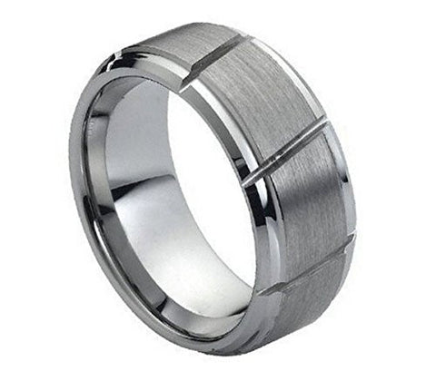 Tungsten Ring Multiple Diangonal Lines and Brushed Center 9mm Wedding Band for Men / Women