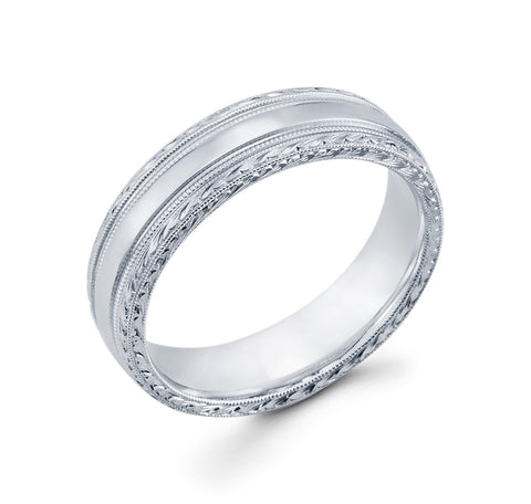14K White Gold with Milgrain Design on the Sides and Hand Engraved Edges 6mm Stylish Wedding Band for Men