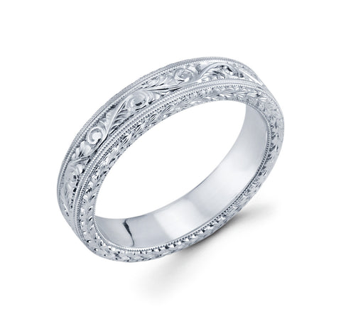 14K White Gold Flower Pattern with Hand Engraved and Milgrain in Inner Edges 5mm Remarkable Wedding Band for Men