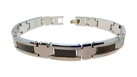Tungsten Carbide Highly Polished and Brushed Finish with Black Carbon Fiber Inlay Unique Bracelet for Men / Women
