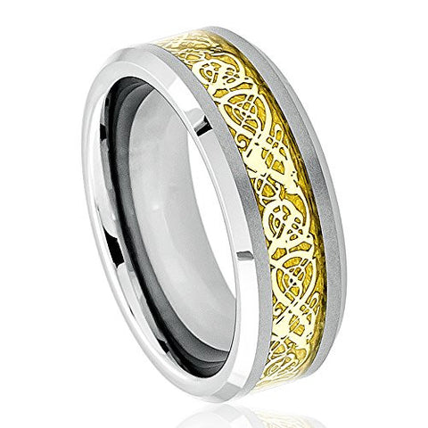 Tungsten Ring Celtic Dragon Design Gold Finish Center and Beveled Edges 8mm Wedding Band for Men / Women