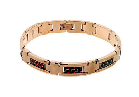 Tungsten Carbide Black and Red Carbon Fiber Inlay with Gold Palted Finish Moder Bracelet for Men / Women