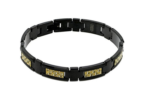 Tungsten Carbide Black Enamel Plated with Golden Carbon Fiber Inaly Unique Bracelet for Men / Women