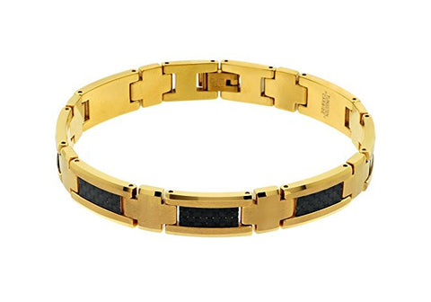 Tungsten Carbide Highly Polished and Brushed Finish with Yellow Gold Plated Remarkable Bracelet for Men / Women