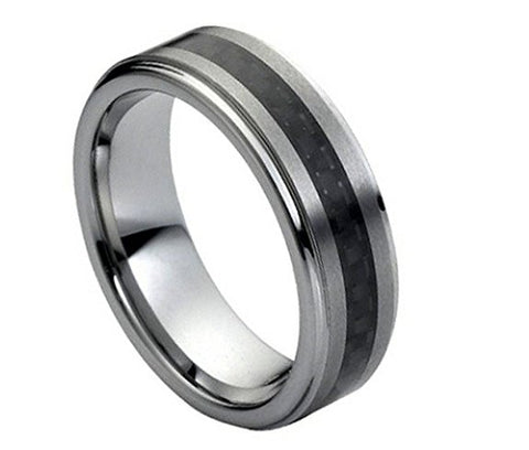 Tungsten Ring Black Carbon Inlay and Brushed Center 7mm Wedding Band for Men / Women