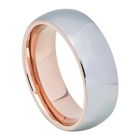 Tungesten Ring Rose Gold Plated and Metal Brushed Center Domed Style 8mm Wedding Band for Men / Women