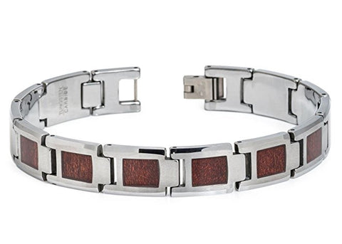 Tungsten Carbide Highly Polished Finish and Square Shaped Design with Hawaiian Kao Wood Inlay Remarkable Bracelet for Men / Women