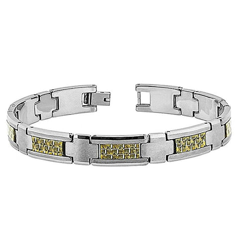 Tungsten Carbide Highly Polished Finish and Colden Fiber Inlay in Center Unique Bracelet for Men / Women