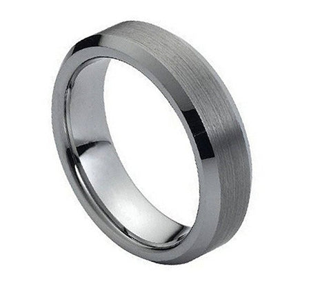 Tungsten Ring Beveled Edges and Brushed Center 6mm Wedding Band for Men / Women
