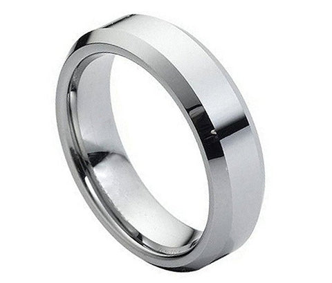 Tungsten Ring Beveled Edges and High Polished Finish 6mm Wedding Band for Men / Women