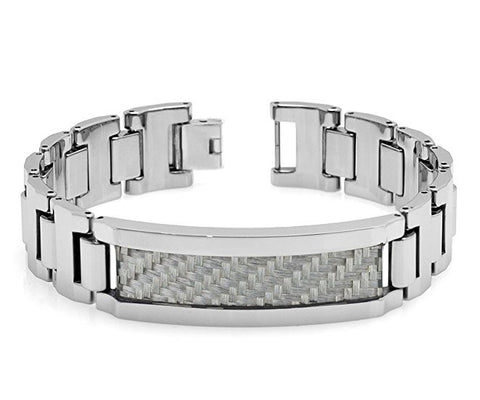 Tungsten Carbide Highly Polished Fiish with Dark Grey Fiber Inlay Remarkable Bracelet ID for Men / Women
