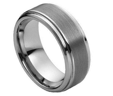 Tungsten Ring Beveled Edges and Brushed Center 8mm Wedding Band for Men / Women