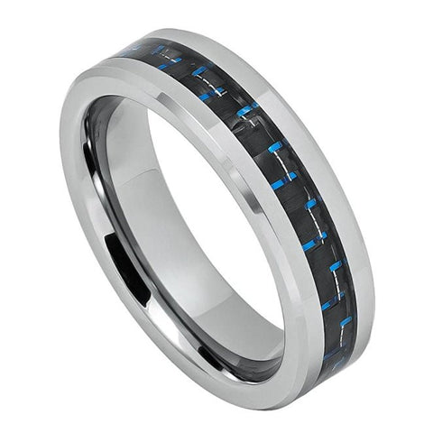 Tungsten Ring Black and Blue Carbon Inlay Center 6mm Wedding Band for Men / Women