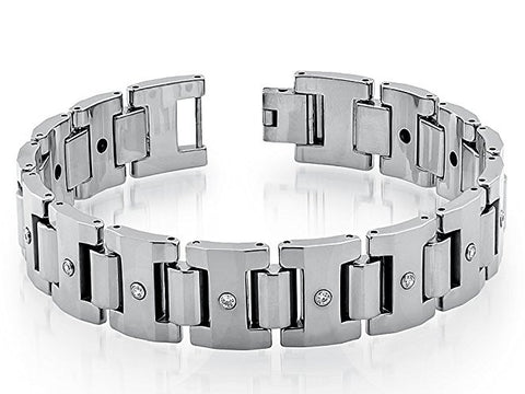 Tungsten Carbide Heavy Designer Link Highly Polished Finish Remarkable Bracelet for Men / Women