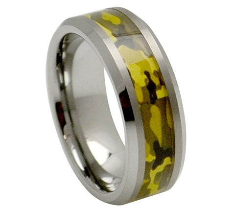 Tungsten Ring Army Green Inlay and Beveled Edges 8mm Wedding Band for Men / Women