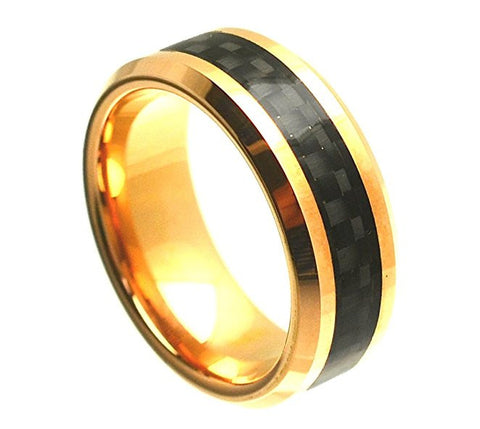 Tungsten Ring Black Carbon Fiber Inlay Center and Beveled Edges 8mm Wedding Band for Men / Women