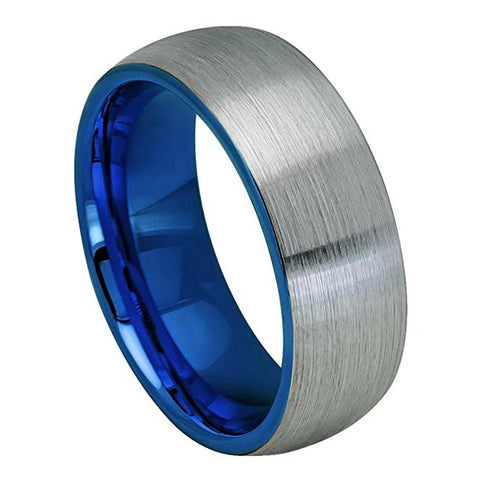 Tungesten Ring Blue Plated and Metal Brushed Center Domed Style 8mm Wedding Band for Men / Women