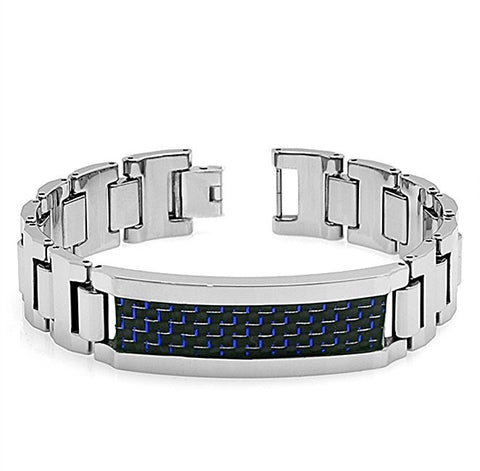 Tungsten Carbide Blue and Black Carbon Finer Inlay with Highly Polished Finish Unique Bracelet for Men / Women