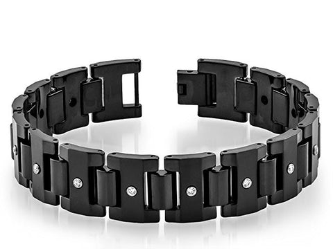 Tungsten Carbide Highly Polished and Balck Enamel Placed Modern Bracelet for Men / Women