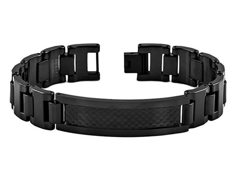 TUNGSTEN CARBIDE BLACK ENAMEL PLATED WITH CHARCOAL CARBON FIBER INLAY UNIQUE BRACELET ID FOR MEN / WOMEN