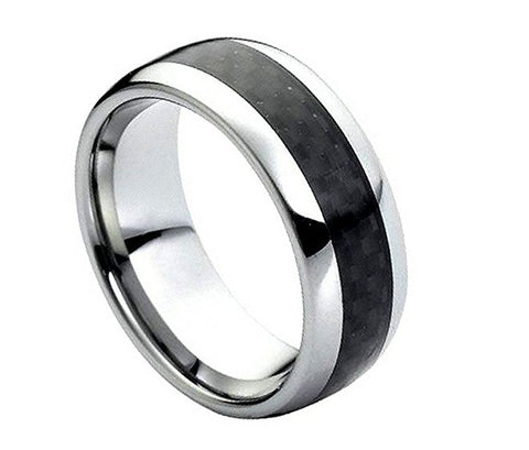 Tungsten Ring Black Carbon Fiber Inlay Center and High Polished 8mm Wedding Band for Men / Women