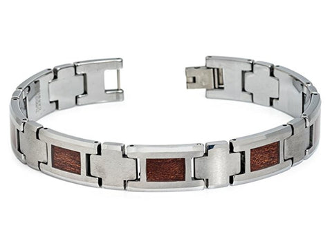 Tungsten Carbide Highly Polished Finish with Rectangular Hawaiian Kao Wood Inlay Unique Bracelet for Men / Women