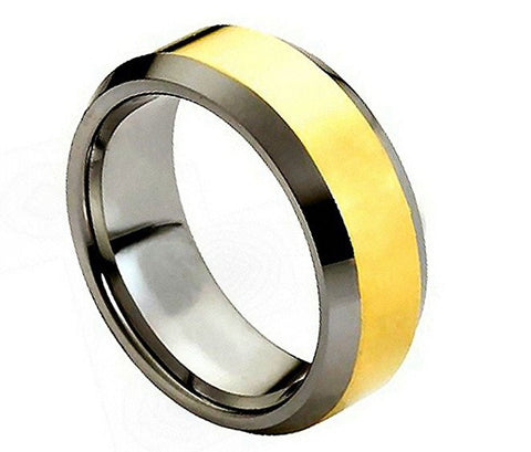 Tungsten Ring Beveled Edges and Gold Plated Center 8mm Wedding Band for Men / Women