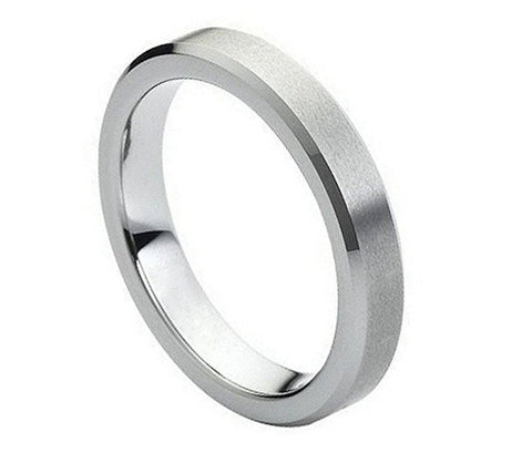 Tungsten Ring Beveled Edges and Brushed Center 4mm Wedding Band for Men / Women