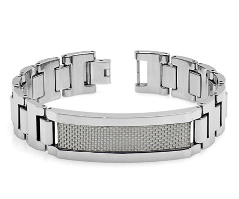 Tungsten Carbide Highly Polished Fiish with Light Grey Fiber Inlay Unique Bracelet ID for Men / Women