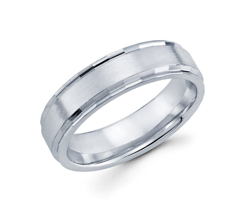 14K White Gold Satin Finish With a High Polished Edge Profile 6mm Wedding Band for men