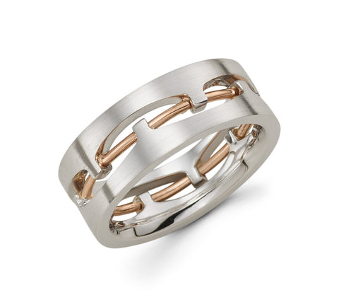 14K White and Rose Gold Two Tone with Wire in the Center 8.5mm Stylish Wedding Band for Men