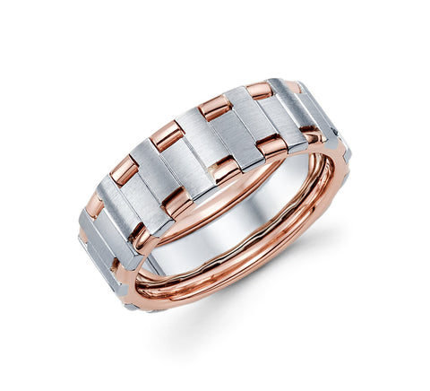 14K White and Rose Gold Two Tone with Wire in the Center 7.5mm Stylish Wedding Band for Men
