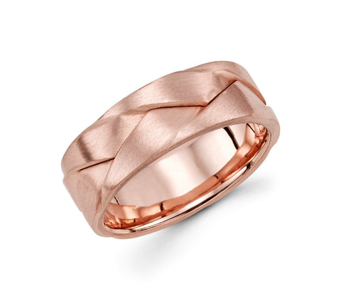 14K Rose Gold with a Design of Multiple Rings Molded Together 8mm Modern Wedding Band for Men