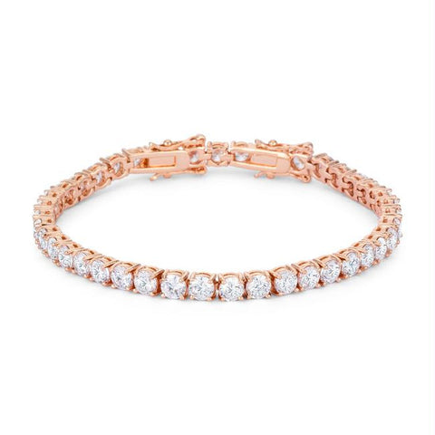 17.6 Ct Rose gold Tennis Bracelet with Shimmering Round CZ