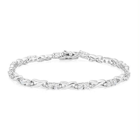 Alternating CZ Link Tennis Bracelet
