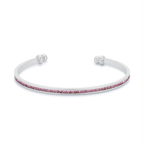 Channel-Set Pink Cubic Zirconia Cuff