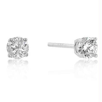 7mm New Sterling Round Cut Cubic Zirconia Studs Silver